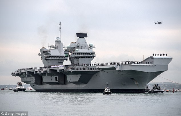 Under one scenario, HMS Queen Elizabeth, pictured, along with 12 F-35B fighter jets, would be brought into service early to join US warships off the Korean peninsula