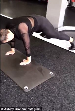 Putting in the effort: In one video clip, the beauty toned her backside and inner thighs with a plank-like workout