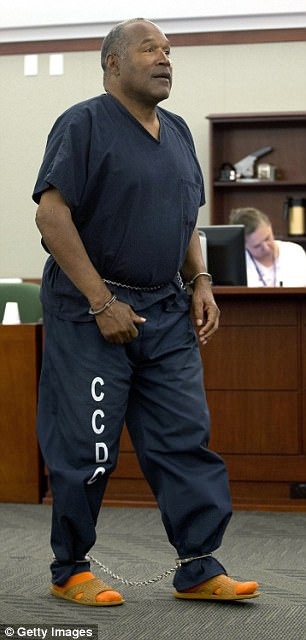 The 70-year-old had ballooned up to 300lbs since he was locked up in 2008 for an armed robbery and kidnapping. Pictured: Simpson at an evidentiary hearing in 2013