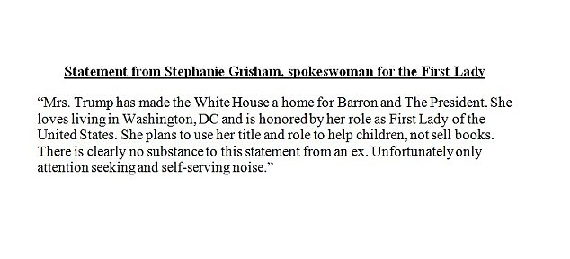Above, the full statement issued through the first lady's office on Monday