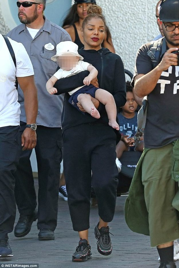 Who needs Neverland? Janet Jackson, 51, took her ten-month-old son Eissa to Disneyland on Tuesday