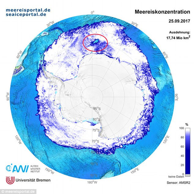 A huge hole nearly the size of the state of Maine has opened up in the thick sea ice blanketing Antarctica¿s Weddell Sea. The massive polynya can be seen in the map of the sea ice distribution around Antarctica above, circled in red