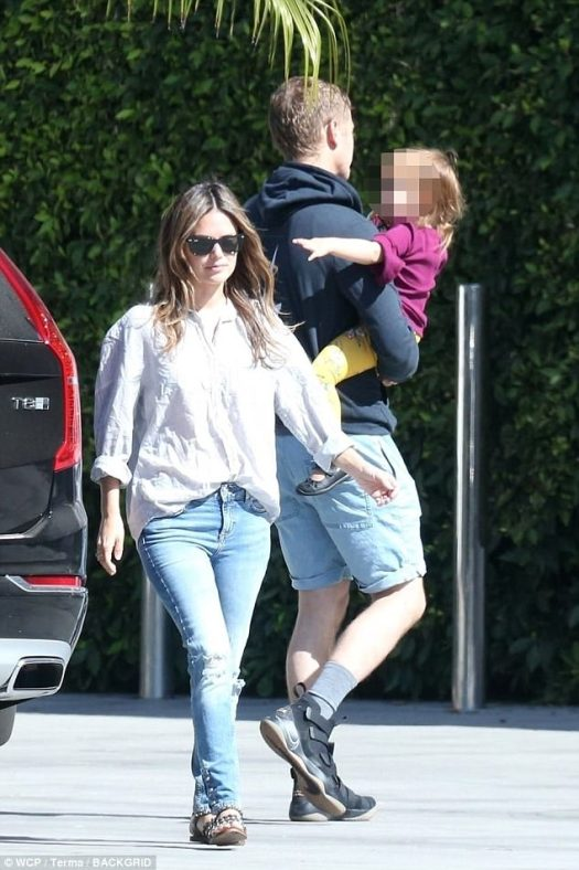 Family matters: Rachel Bilson kept a stoic face as she dropped off their three-year-old daughter Briar Rose with ex-boyfriend Hayden Christensen in Los Angeles on Wednesday afternoon