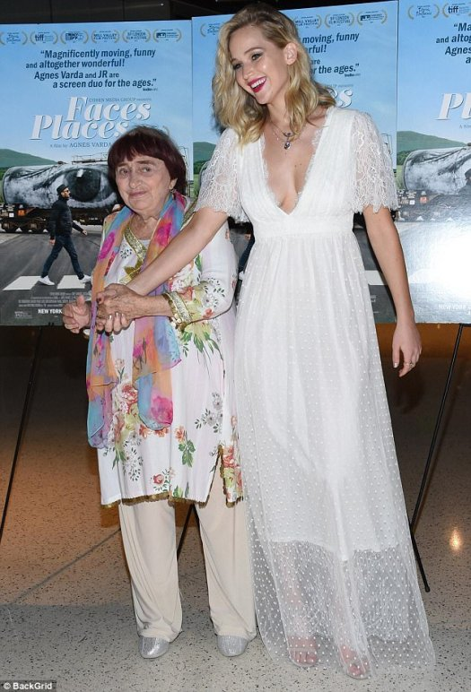 Icon: Though Jennifer is one of Hollywood's biggest names she was the one starstruck while meeting filmmaker Agnes Varda at the premiere