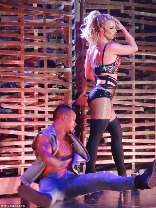 Giving thanks: Britney made sure to pay tribute to the first responders in the crowd by giving them a massive round of applause