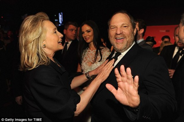 Close relationship: Hillary Clinton benefited from hundreds of thousands from Harvey Weinstein for her campaigns and her family foundation
