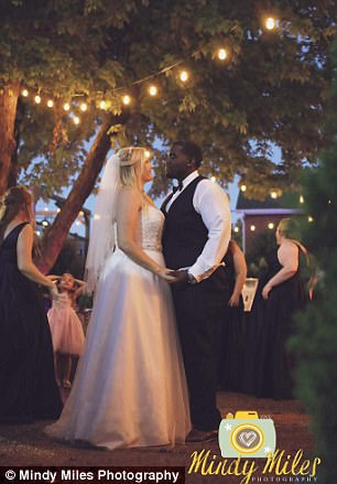 The couple enjoyed dancing to live music under a a tree festooned with twinkling fairy lights