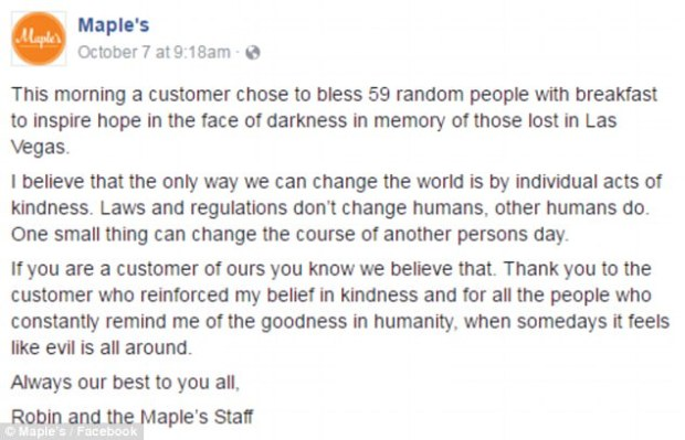 Maple's Bakery in Yarmouth, Maine noted in a Facebook post: 'Thank you to the customer who reinforced my belief in kindness and for all the people who constantly remind me of the goodness in humanity, when somedays it feels like evil is all around'