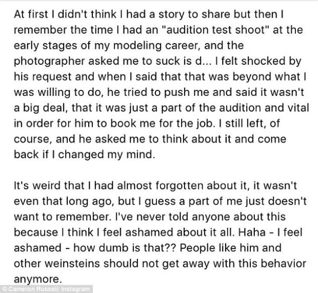 Demands: A model recounted being asked by a photographer to 'suck his d***' during an 'audition test shoot', and getting told it was a 'vital' part of the process