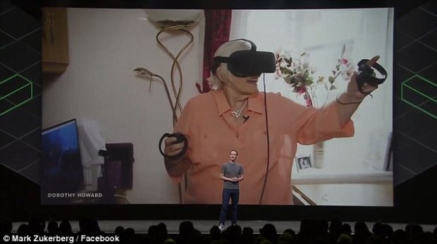 Mark Zuckerberg, who bought Oculus for more than $2 billion (£1.52 billion) in 2014, described Mrs Howard adventures at a recent technology conference in Seattle (pictured)