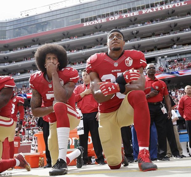 Former San Francisco 49ers quarterback Colin Kaepernick (left) started the protests in 2016 to raise awareness about police brutality against minorities