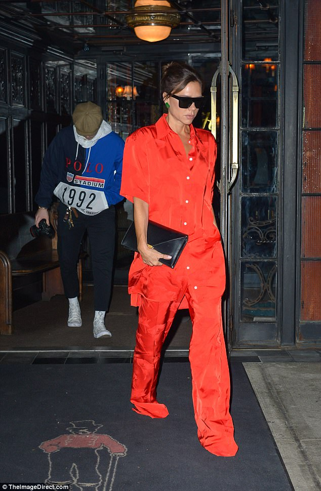 Style icon:The style maven looked incredible in her co-ord, which consisted of a short sleeved pyjama-esque shirt and matching oversized trousers, which covered her feet completely