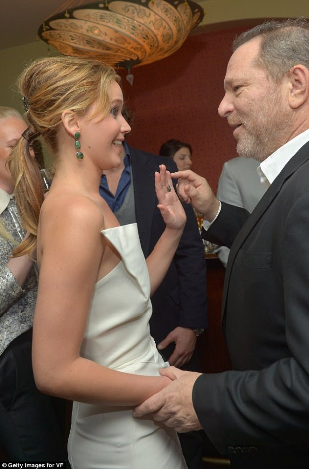 Contact:  Lawrence (pictured in 2013 with Weinstein) replied 'Yeah' and followed up with a joke about being deprived of physical contact