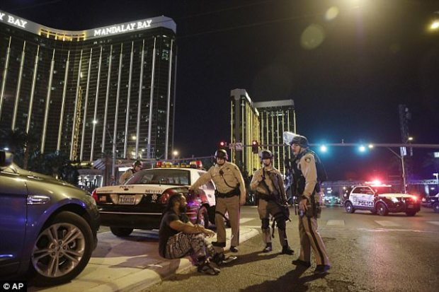 Sheriff Lombardo said by the time police officers arrived outside Paddock's hotel room door, at 10.17pm, firing had ceased