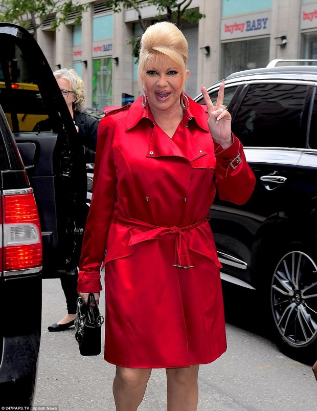 All love here! She flashed the peace sign as she stepped out in New York City on Thursday for a television taping