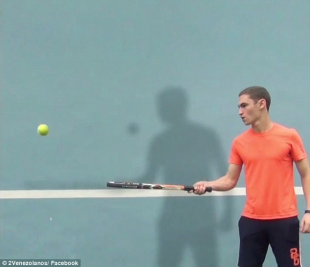 In another moment, one of the tricksters finesses a fun game of tennis with his shadow