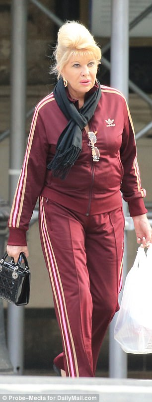 Casual Friday: While Melania was with Trump his ex-wife, Ivana, modeled a maroon Adidas ensemble, with the brand's logo in her back and trademark three stripes down her legs
