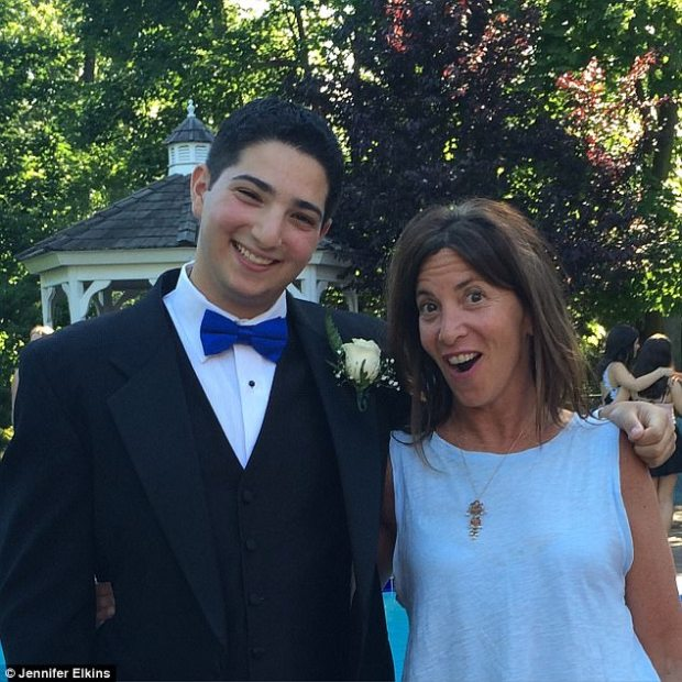 Chasin (left) still didn't know that his 'panic attacks' were seizures when he went to his senior prom, in June 2016. But his mother, Jennifer (right) pushed him to get him to an MRI before he started college at University Buffalo