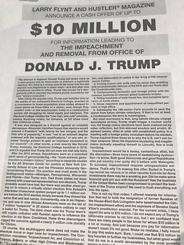 Flynt, on behalf of Hustler Magazine, announced details in the advertisement that will run this weekend in the Washington Post