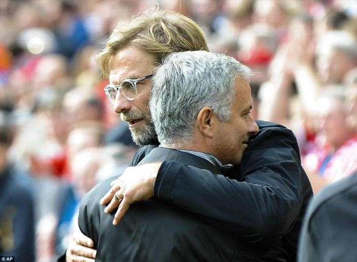 There was an embrace between Jurgen Klopp and Jose Mourinho on the touchline before battle began at Anfield