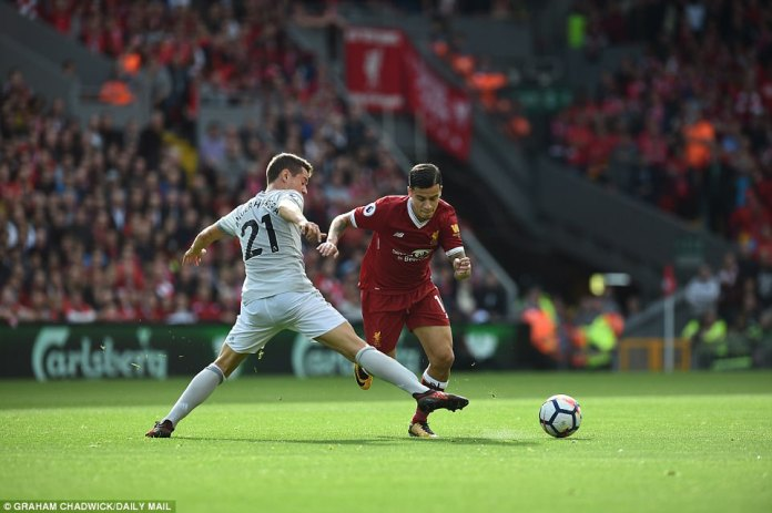 Coutinho saw plenty of the ball during the opening 20 minutes. Here he is challenged by Ander Herrera