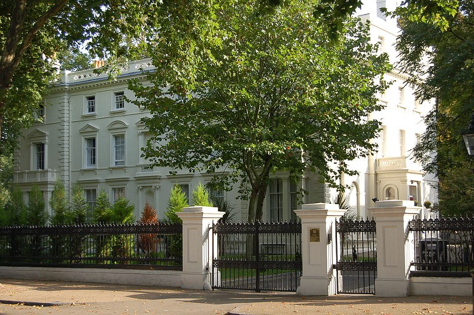 One of the mansions is pictured in the present day. Two of the three buildings on Kensington Palace Gardens are now owned by the Russian government