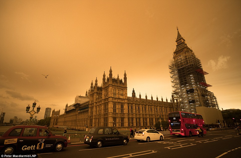 WESTMINSTER: The sky over central London is turned orange as the remains of Hurricane Ophelia whips up dust from the Sahara desert