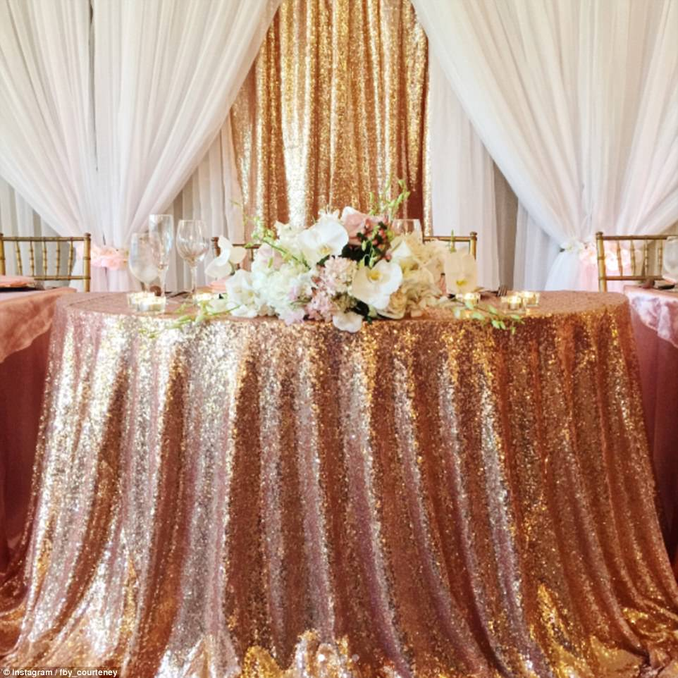 Above, the lush set-up at the couple's formal reception