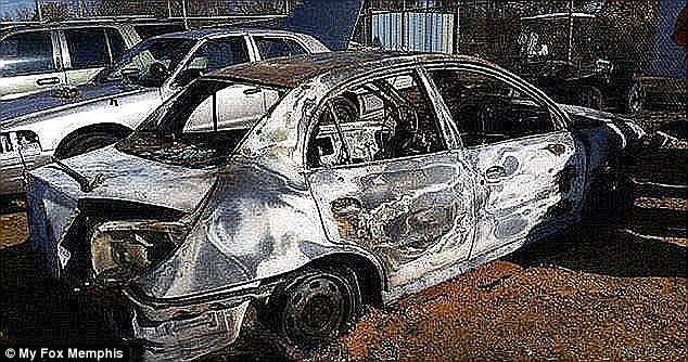 Prosecutors said that Tellis set Chambers and her car (pictured) on fire in a rural back road and left her to die