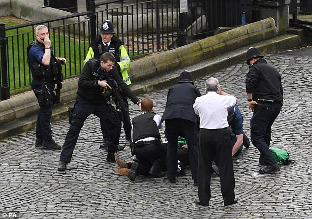Armed police surround terrorist Khalid Masood in parliament's New palace Yard after he ploughed his car into pedestrians in nearby Westminster Bridge before leaping out and stabbing to death PC Keith Palmer