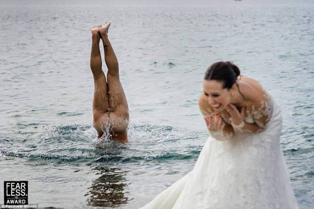 Flasher: Pasquale Minniti, a photographer from southern Italy, snapped a bride laughing hysterically while her presumed groom went skinny dipping in the ocean