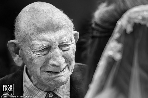 Look of love:Netherlands-based photographer Gabriel Scharis perfectly captured the emotion on this grandfather's face