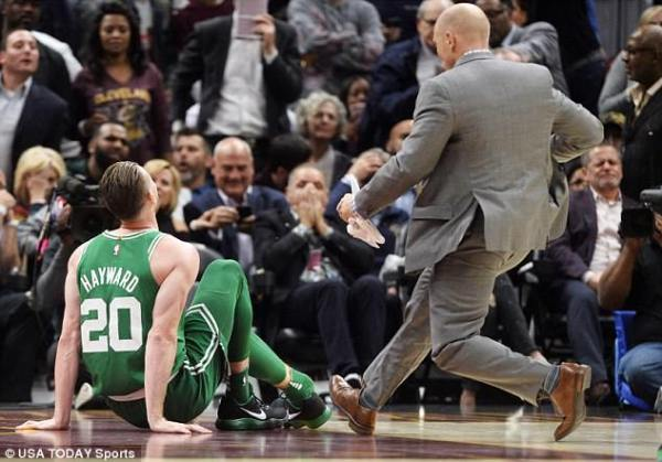 Image result for Gordon Hayward, Boston Celtics, right after injury