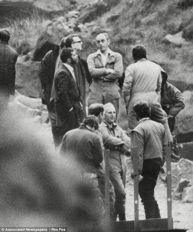 Ian Brady is pictured back at Saddleworth Moor with police looking for the bodies of victims