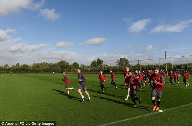 Arsenal prepare for their Premier League trip to Everton on Sunday at London Colney