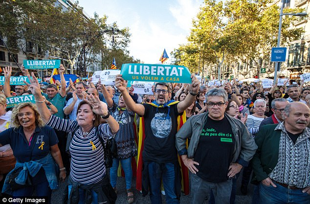 Thousands of protesters took to the streets this afternoon to demonstrate against the decision to suspend Catalan's autonomy