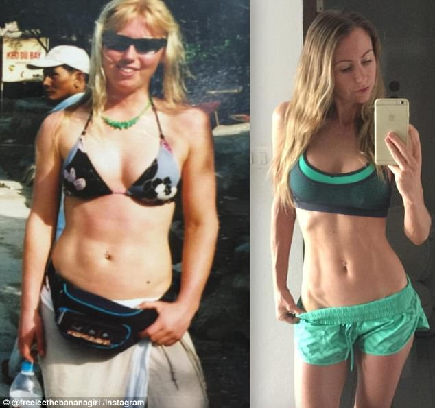 Determined to provide proof her raw vegan lifestyle produces results, the 37-year-old Queensland woman shared an image of herself 17 years ago while on a paleo diet with a noticeably fuller figure (Pictured left before and right after)