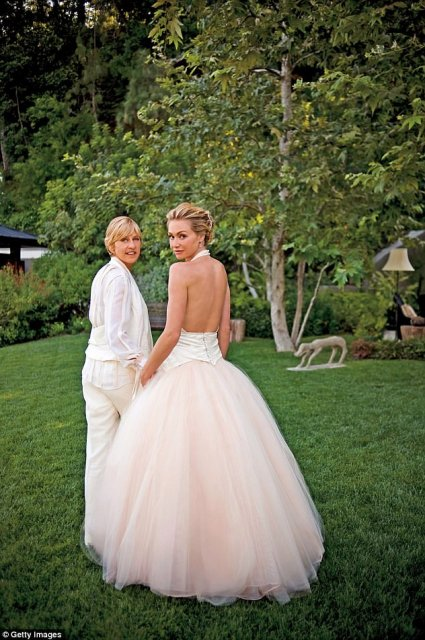 'She loves me for everything that I am. She supports me and makes me happy' Ellen professed her love for her wife in an interview in September (pictured here on their wedding day in 2008)