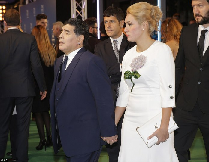 Argentine icon Diego Maradona arrives for the ceremony after watching Tottenham's victory over Liverpool on Sunday