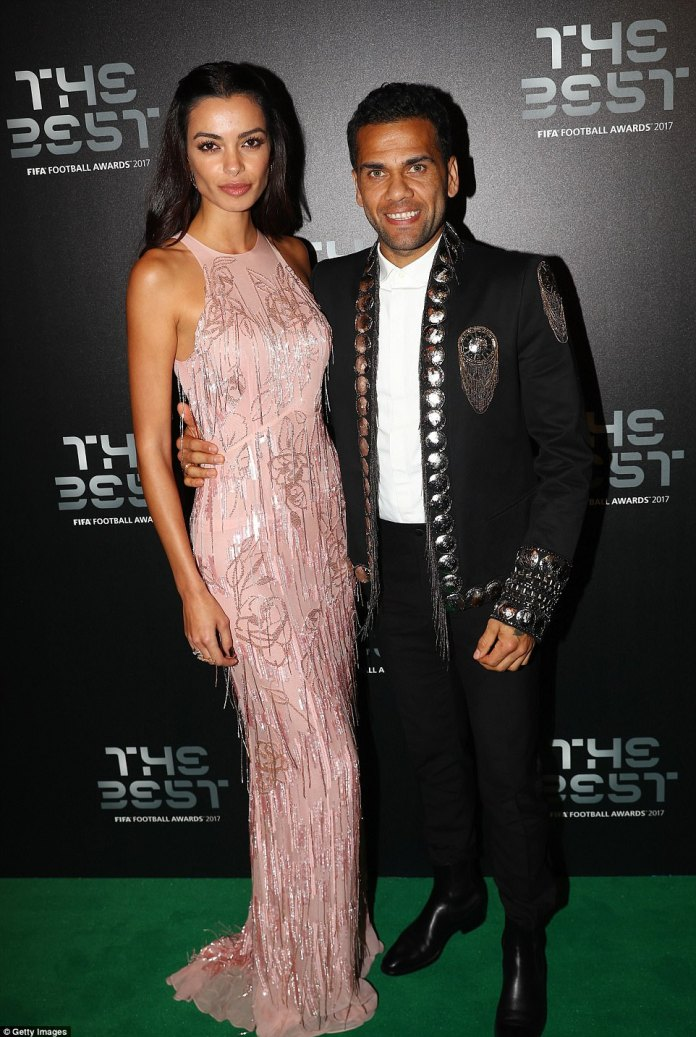 Paris Saint-Germain defender Dani Alves attended the high-profile gala in a stylish black jacket with his wife Joana Sanz