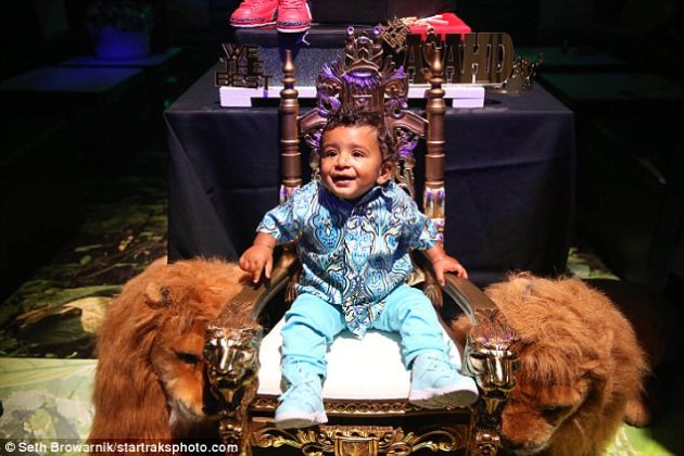 Best seat in the house: At one point, the birthday boy got to sit on a throne flanked by two stuffed lions