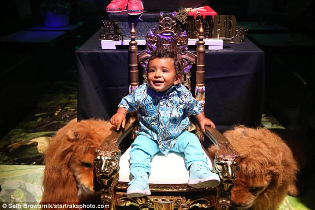 Best seat in the house:At one point, the birthday boy got to sit on a throne flanked by two stuffed lions