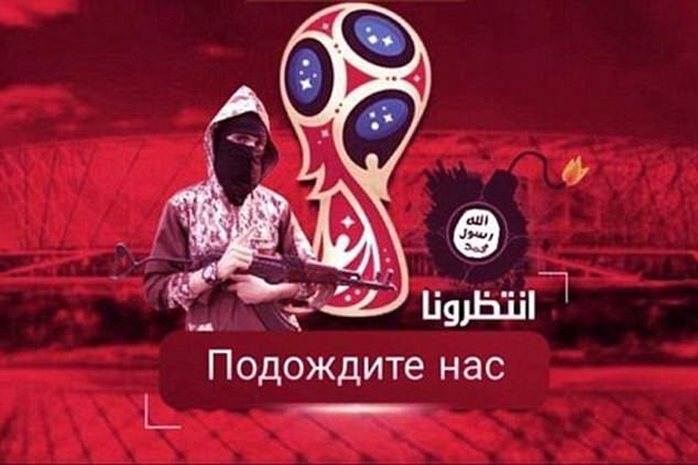 Last week, the terrorist group published an image of a rifle-carrying ISIS fighter and a bomb baring the regime's infamous black flag in front of a football stadium