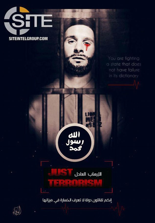 Ongoing project: Last year, ISIS has issued this poster showing Lionel Messi crying blood