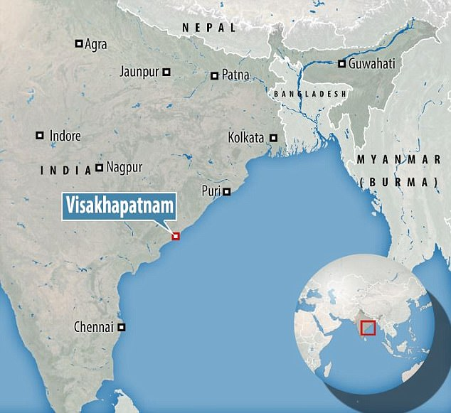 The attack took place in the city of Visakhapatnam, in Andhra Pradesh, on the Bay of Bengal