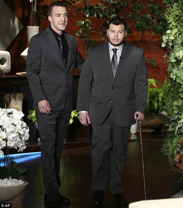 Fox News obtained a document showing Jesus Campos (right) crossed into the U.S. from Mexico on October 8 - a week after the Las Vegas shooting. He's pictured appearing on the Ellen show for his only interview shortly after returning to the country