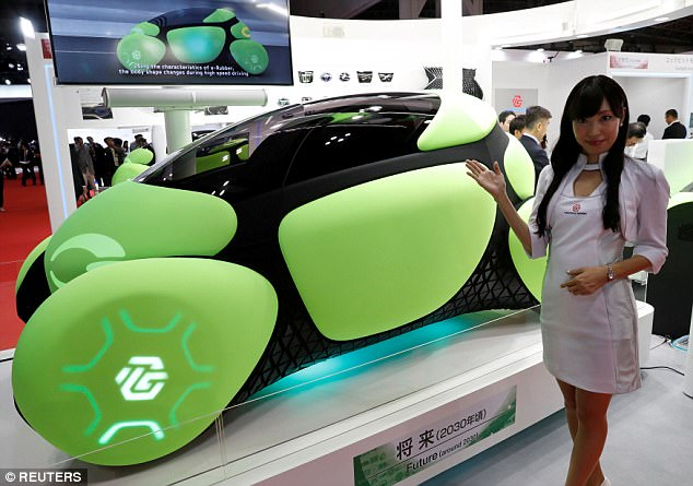 According to Toyoda Gosei, the design uses shape-shifting rubber that moves with electric power to protect the exterior from collisions, rather than relying solely on traditional placement inside the car