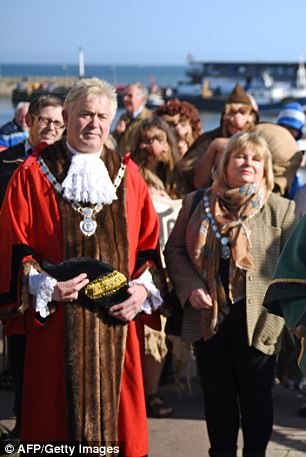 John in mayoral robes and Jacqui as mayoress in 2015