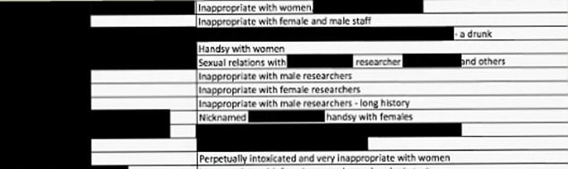 This grab comes from the Conservative party dirty dossier, with names of MPs blacked out
