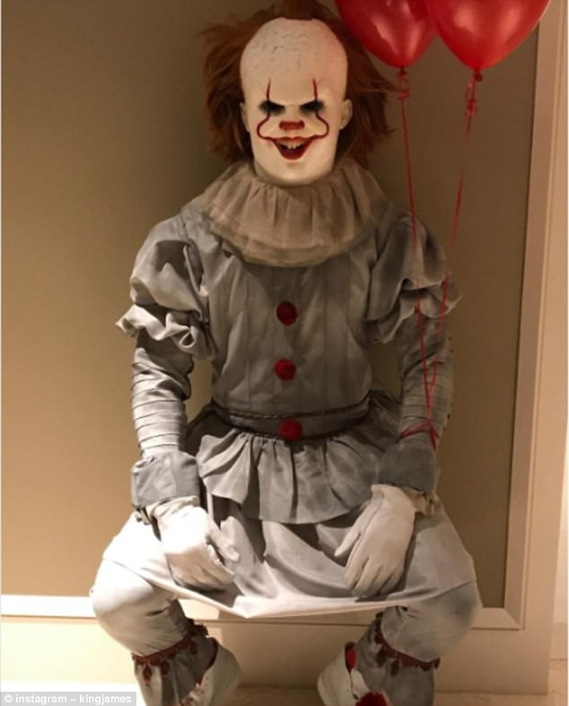 NBA megastar LeBron James dressed as Pennywise the clown from Stephen King's novel 'IT'